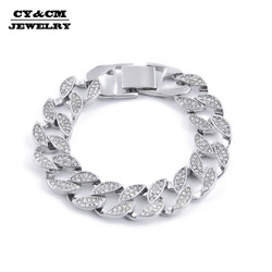 CY&CM 15mm Men Bracelet Silver Color Zinc Alloy Hip Hop Bangles Fully Iced Out Rhinestone Miami Cuban Chain Bracelet Fashion
