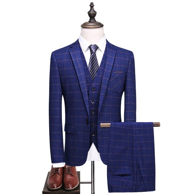 2019 New Spring Men's suits Mens Fashion lattice Business Casual Silm wedding 3 piece Dress suit Blazer With PantsVest