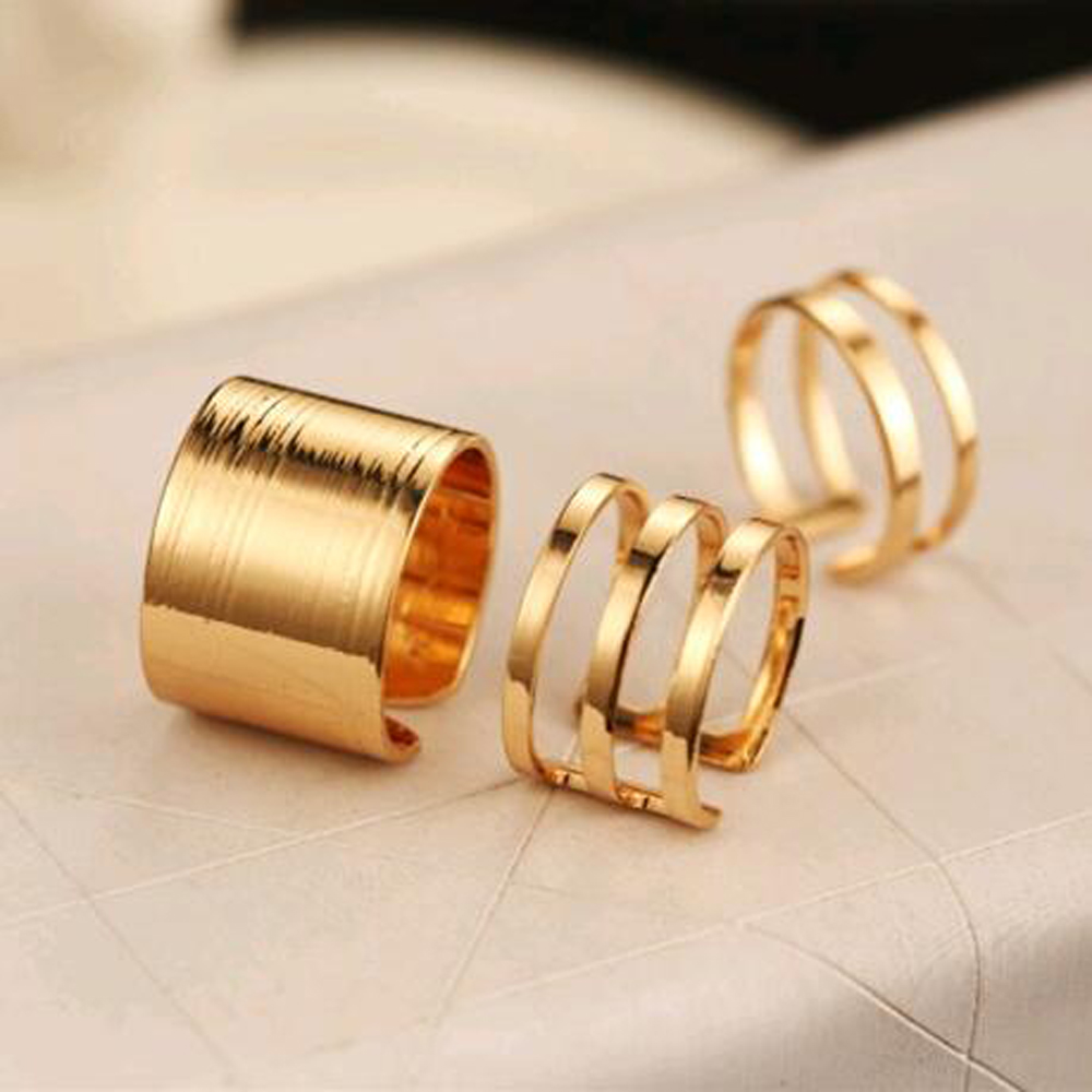 VKME 3Pcs. / Set. Fashion Top Of Finger Over The Midi Tip Finger Above The Knuckle Open Ring For women Fashion Jewelry R3