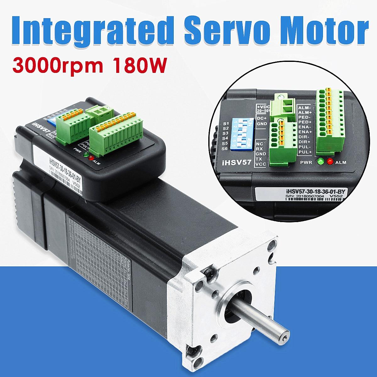 180W 3000rpm NEMA23 0.57Nm Integrated Servo Motor 36VDC JMC iHSV57-30-18-36 New Arrival nema23 2nm 283oz in integrated closed loop stepper motor with driver 36vdc jmc ihss57 36 20