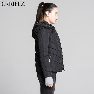 Image 4 - CRRIFLZ Autumn Winter Collection Short Jacket Women Parkas Outerwear Solid Hooded Coats Female Slim Cotton Padded Basic Jacket