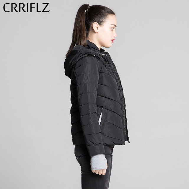Short Jacket Women Outerwear Solid Hooded Coats Slim Cotton Padded Basic Jacket