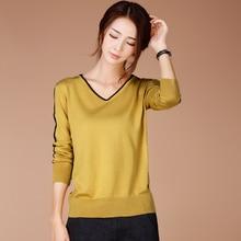 HCXR 2016 new Korean V collar long sleeved sweater sweater hedging lad for women girls  Tops Qulity Clothing