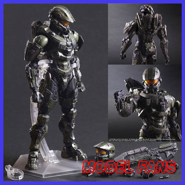 MODEL FANS Play Arts Kai HALO Figure HALO 5 Guardians Master Chief Figure PA 25cm PVC Action Figure Doll Toys Kids Gift halo 5 guardians play arts reform master chief action figure