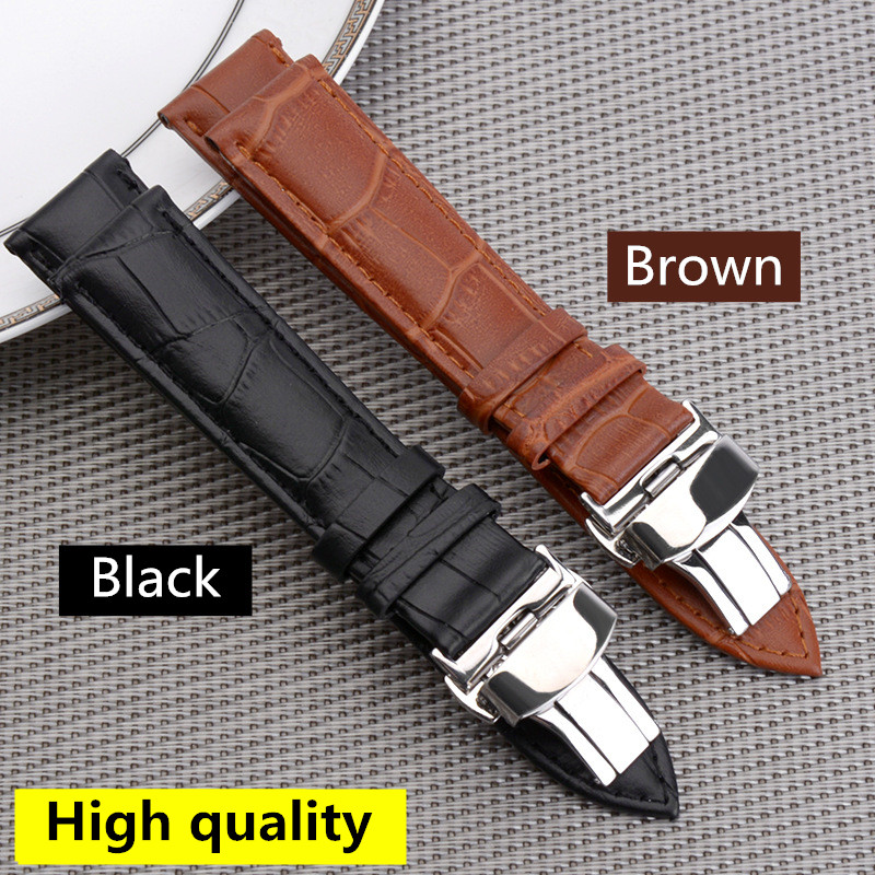 button butterfly buckle <font><b>leather</b></font> cowhide strap For James Bond 18 20 <font><b>22</b></font> <font><b>mm</b></font> Watchband straps belt <font><b>watch</b></font> <font><b>band</b></font> for Tissot Armani image