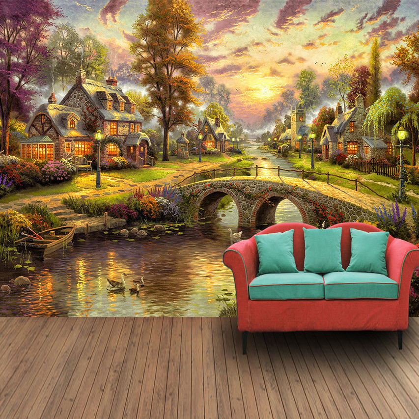 Custom 3D Mural Wallpaper Hand Painted European Style Forest Hut Night View Oil Painting Art Wall Mural Living Room Wall Paper