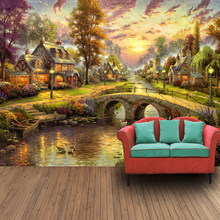 Custom 3D Mural Wallpaper Hand Painted European Style Forest Hut Night View Oil Painting Art Wall Mural Living Room Wall Paper(China)
