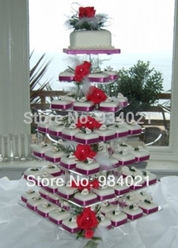 Free Shipping High Quality 7 tier Square Acrylic Cake Stand, Plexiglass Cup Cake Stand wedding decoration