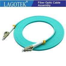10 stks/partij, 3 M, LC naar LC OM3 OM4 Multimode 10G Fiber Patch cord Duplex MM 50/125um, Pvc, 3.0mm Glasvezelkabel