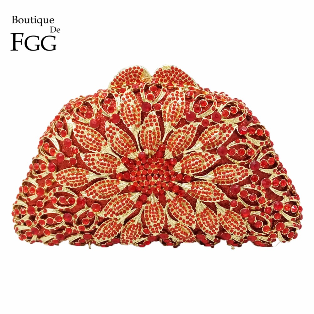 Dazzling Women' Red SunFlower Ruby Crystal Diamond Evening Bags Wedding Bridal Shoulder Handbags Purses Metal Hard Clutches Bag golden crystal diamond rabbit women evening clutch bags bridal wedding dress handbags shoulder purses hard case metal clutches