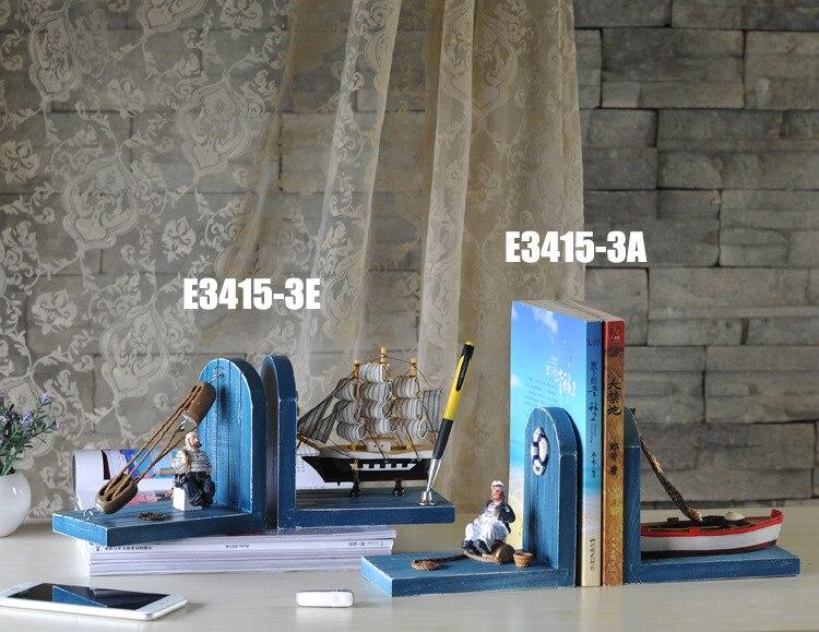 Livre de ménage méditerranéen serre-livres articles d'ameublement, le capitaine du bateau à voile maison créative, artisanat en bois