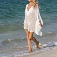 Womens Swimwear Summer Lace See-Through Bikini Cover up Sun Protective Beach Dress