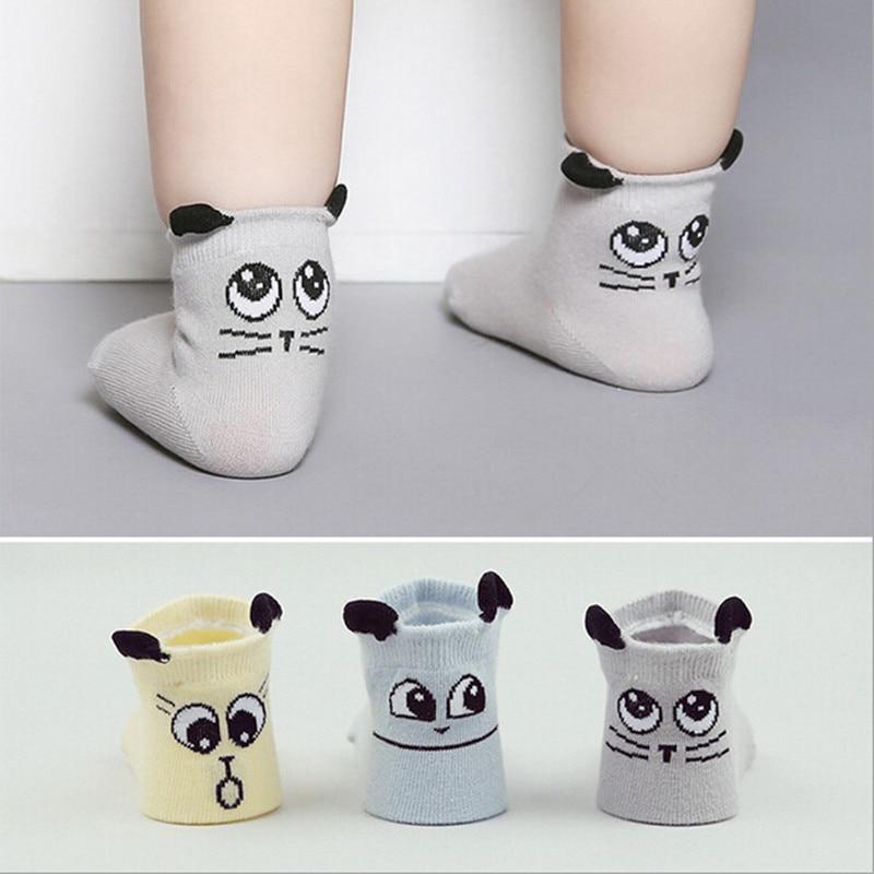 2016 summer and autumn  New Boys Girls Cotton Socks Big Eyes Small Ears Cat Anti-Slip All-Match Popular Socks 3 Pairs/Lot