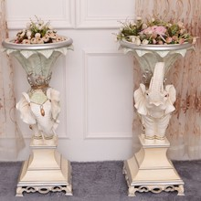 European classical flower. Elephants creative flower-stand flower. Angle of the sitting room tea table.