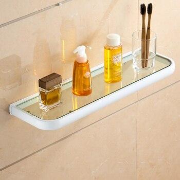 Leyden Brass Tempered Glass Bathroom Shelf,Wall Mounted Thick Shower Storage White No Sharp Edge Heavy Duty