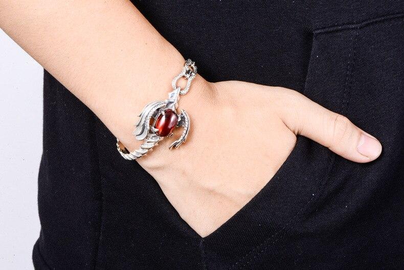 Pure 925 Sterling Silver Scorpion Bracelets for Men Punk Rock Vintage Thai Silver with Garnet Bracelet Male Fashion Jewelry Gift in Chain Link Bracelets from Jewelry Accessories