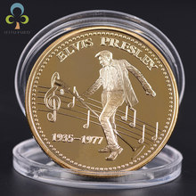 1Pc Newest Elvis Presley Commemorative Coin 1935-1977 The King of N Rock Roll Gold Silver Commemorative Coin Gift GYH(China)