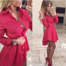 2016 New Autumn Fashion Women Shirt Dress Small Dots Printed Fashion Lrregular Long Sleeve Mini Vestidos Dresses