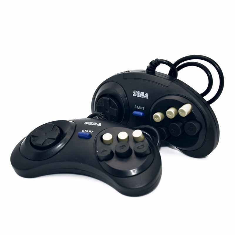2 x classic game controller buttons wired 6 button joypad for Sega Sega Genesis / MD2 y1301 / PC / Mac Mega Drive cartridges