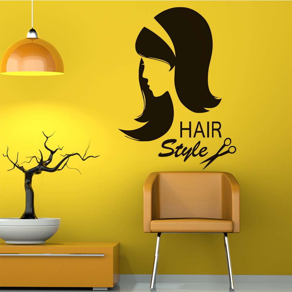 Hair Style Quote Wall Decals Beatiful Lady Art Wall Sticker Barber ...