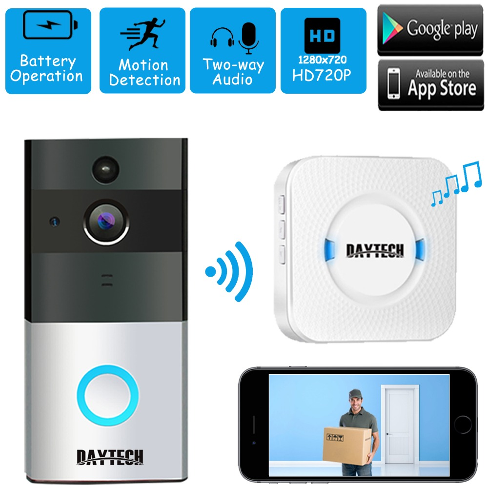 DAYTECH Wireless WIfi Video Doorbell 720P HD Camera Two-way Audio Motion Detection Night Vision Battery Powered 2 4ghz wifi smart video doorbell 720p hd camera with real time video and two way talk night vision pir motion detection f1442a