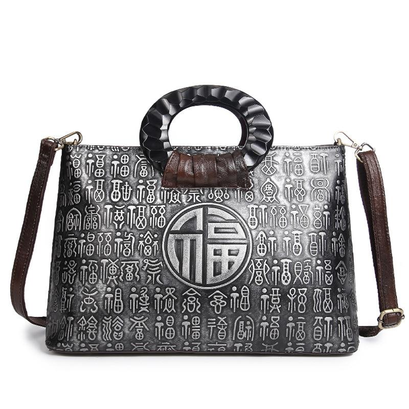Aetooブランドは新しいレトロハンドブラシカラーハンドバッグヘッド層革カジュアルバッグメッセンジャーバッグ中国スタイルリアルレザー女性  グループ上の スーツケース & バッグ からの トップハンドルバッグ の中 3