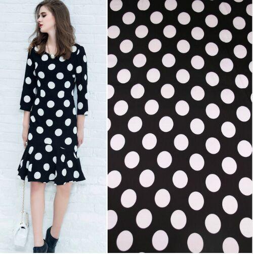 White Polka Dot Black Polyester Charmeuse Imitate Silk Satin Fabric for  Woman Summer Dress Pajama Shirt Pants Sewing DIY-AF774 c70ce80b1