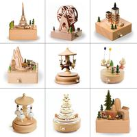 Cute Carousel Musical Boxes Wind Up Musical Box Wooden Chirstmas happy birthday Music Boxes Home Decoration Accessories
