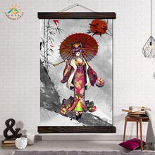 Japanese Kimono Cartoon Girl Vintage Posters and Prints Scroll Painting Canvas Art Modern Wall Pictures Home Decoration