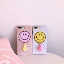 Lovely 3D Chinese Embroidery Smile Face Fringe Mobile Phone Housing For iPhoneX 6 6Plus Protective Shell Coque Funda Back Covers