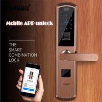 PENGBO WiFi Smart Door Lock Intelligent Fingerprint Reader Scanning Password Lock Bluetooth Fingerprint Smart Keyless Lock
