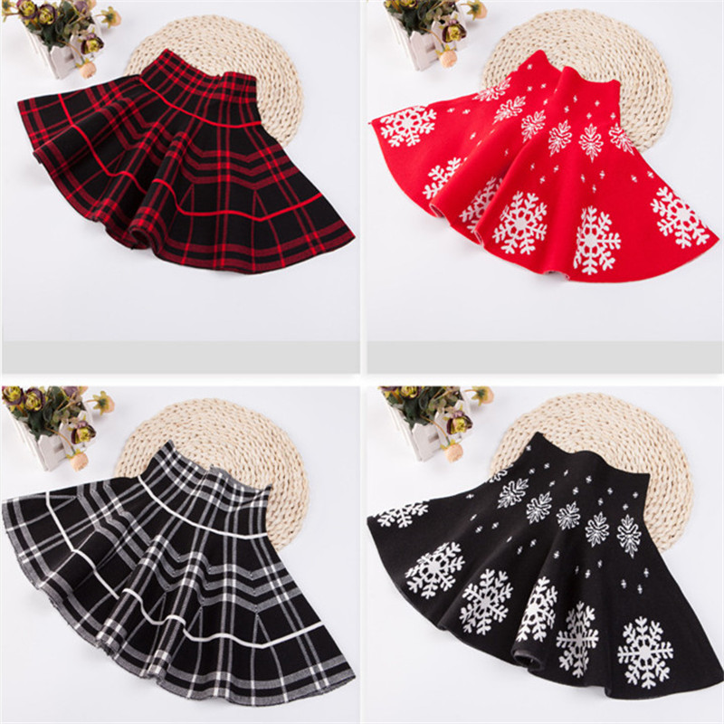 Knitting Baby Girls Skirts High Waist Autumn Winter Girl Skirt Faldas Toddler Kids Clothes Party Tutu Saias Children Clothing