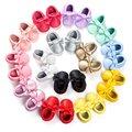 2017 borlas mocasín bebé recién nacido bebé zapatos prewalkers bottom pu de cuero suave 0-18 m