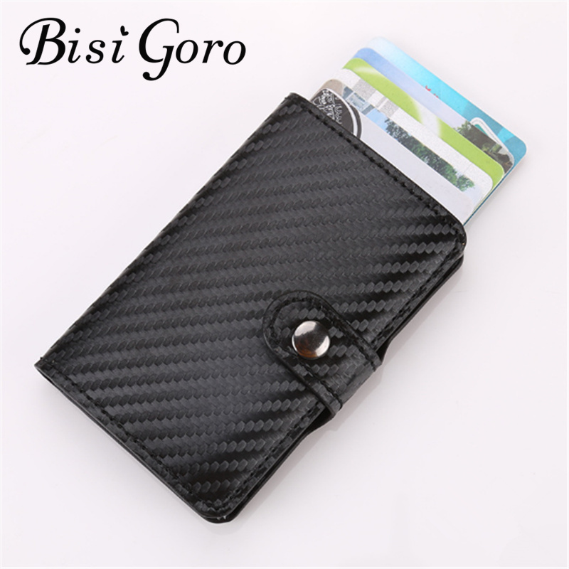 BISI GORO 2018 men and women credit card holder id business card case wallet for women metal wallet pu leather solid steel box