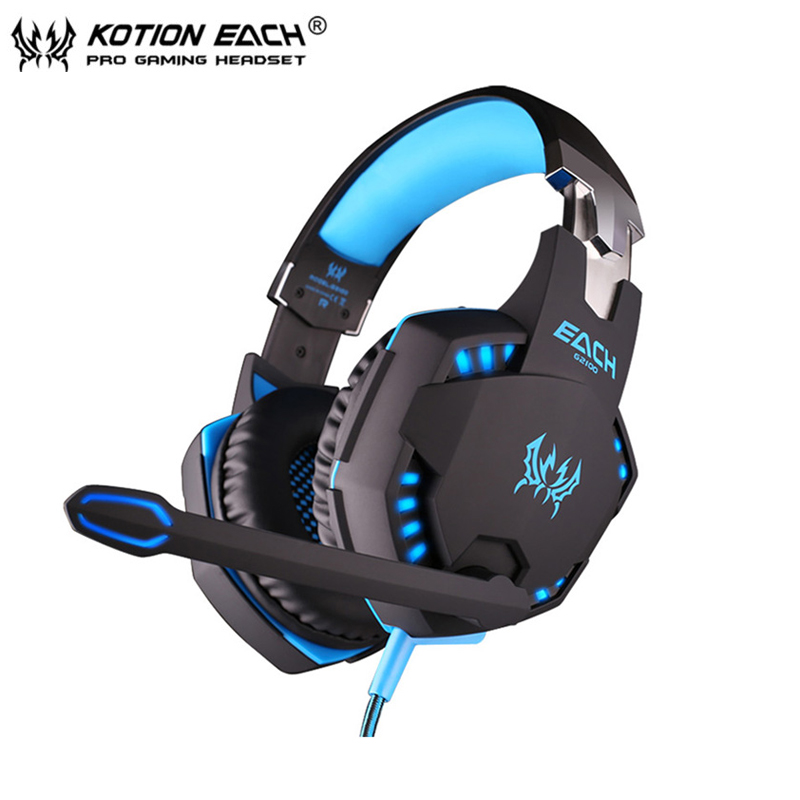 Kotion EACH G2100 Gaming Headset Stereo Bass casque Best Headphone with Vibration Function/Mic/LED Light for PC Game Gamer 2pcs each g1000 over ear game gaming headset earphone headband headphone with mic stereo bass led light for pc gamer