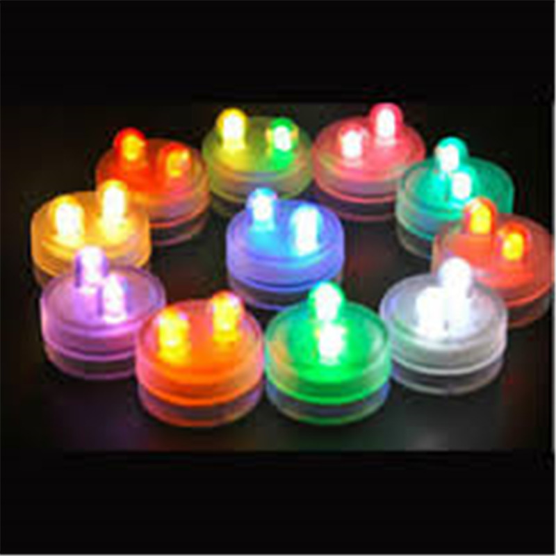 50pcs/Lot Battery Operated Super Bright 2LED Submersible LED Floralyte,Waterproof LED Candle Tea Light  For Wedding Party Decor