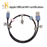 D8 Mfi Certified Universal Cord IOS USB Cable with Magnetic For iPhone Beads Bracelet Genuine Leather Woven Data Line Magnetic
