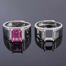MeiBaPJ 6*8 Real Natural Pink Topaz Gemstone Men Ring or Empty Ring Support Real 925 Sterling Silver Fine Wedding Jewelry