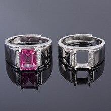 MeiBaPJ 6*8 אמיתי טבעי ורוד טופז חן גברים טבעת או ריק טבעת תמיכה אמיתי 925 סטרלינג כסף בסדר תכשיטי חתונה