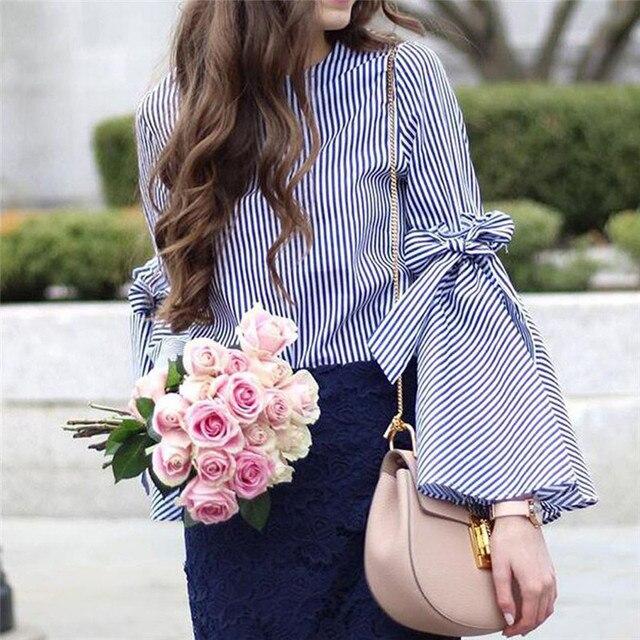 Новый Стиль Мода Женщины Леди Полосатый Блузка Рубашка Летняя Одежда Повседневная Flare Рукавом Мода Ретро Личности Wolovey #25