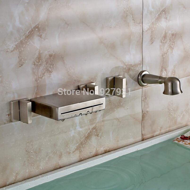 Wall Mounted Brushed Nickel Waterfall Roman Bathroom Bath Tub Faucet ...