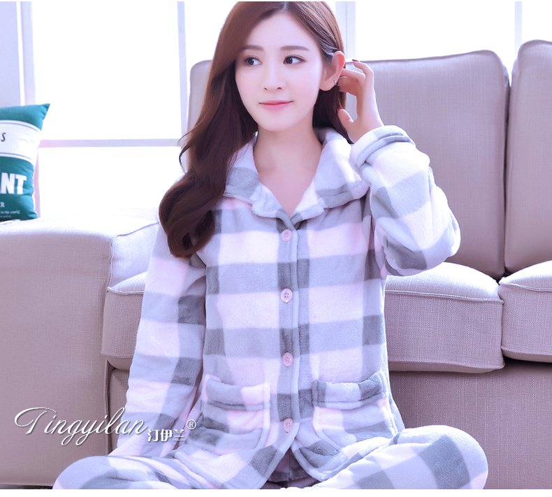Lady Coral Fleece Pajamas Women's Thickening Flannel Sleepwear Girls Winter Long Sleeves Homewear Girls Velvet Wear  B-2113