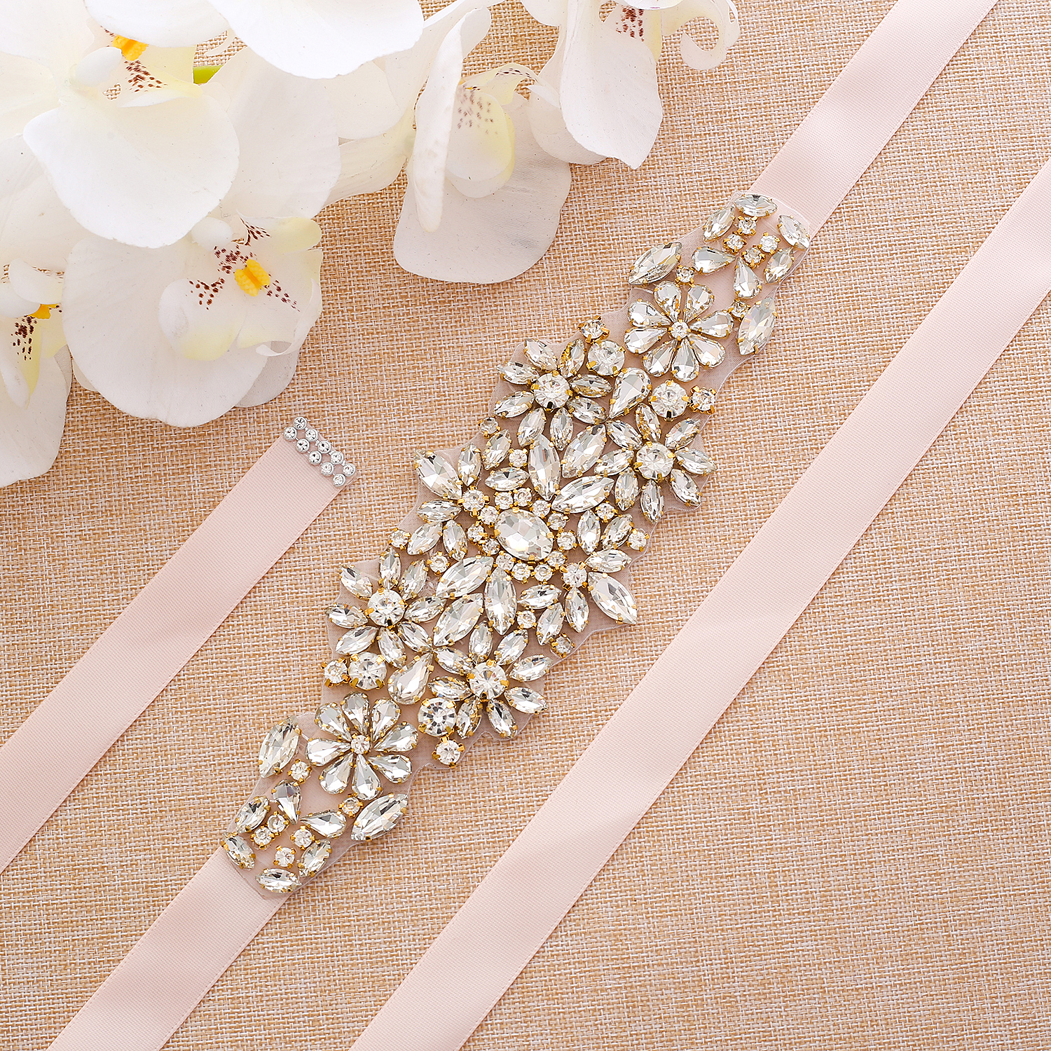 Gold Rhinestones Wedding Belt Hand Beaded Bridal Sash Crystal Pearls Bridal Belt For Women Long Dresses  A183G