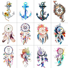 TCOOL 12 PCS / lot Dreamcatcher Ankkuri Temporary Tattoo tarra naisille miehille Body Art vedenpitävä käsin Fake Tatoo 9.8X6cm W12-10