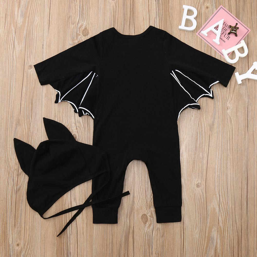 74df4da19 ... Halloween Newborn Baby clothing Toddler Baby Boys Girls Halloween Bat  Cosplay Costume Long Sleeve Romper Hat ...