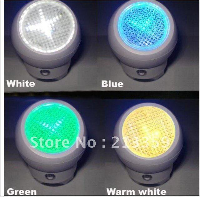 Free Shipping for AC Powered Wall Plug LED Night lamp Light W/Auto Sensor( Input :AC 220v) European Plug