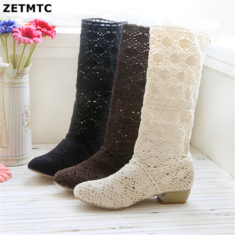 d71ade453e968 US $13.99 50% OFF|Crochet summer boots boots 2019 new shoes lace hollow  crochet boots XL hollow fashion women's boots 34 43-in Mid-Calf Boots from  ...