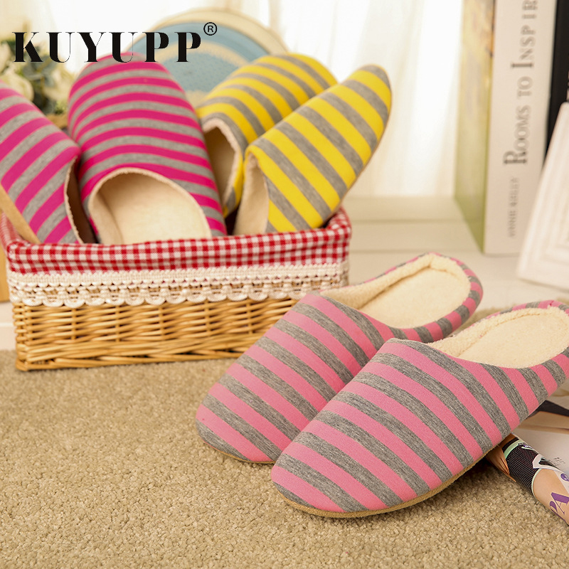 winter striped wool slippers home thick warm warm all inclusive with women s cotton slippers Flat With Women Winter Indoor Slippers Striped Cotton Fashion Casual Home Shoes Non-slip Warm Ladies Slippers Footwear KBT1092