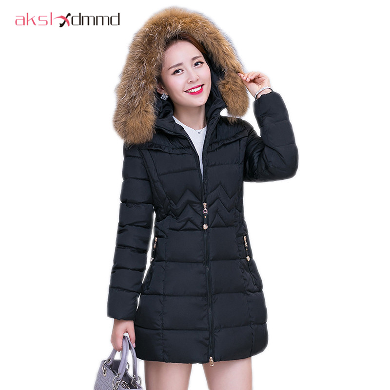Large Size 4XL Parkas 2017 New Women Autumn and Winter Coat Cotton Padded Jacket Fur Collar Hooded Slim Jackets and Coats LH743 akslxdmmd large size winter coat women 2017 new mujer padded jackets and coats slim thick cotton long jacket coat parkas lh263