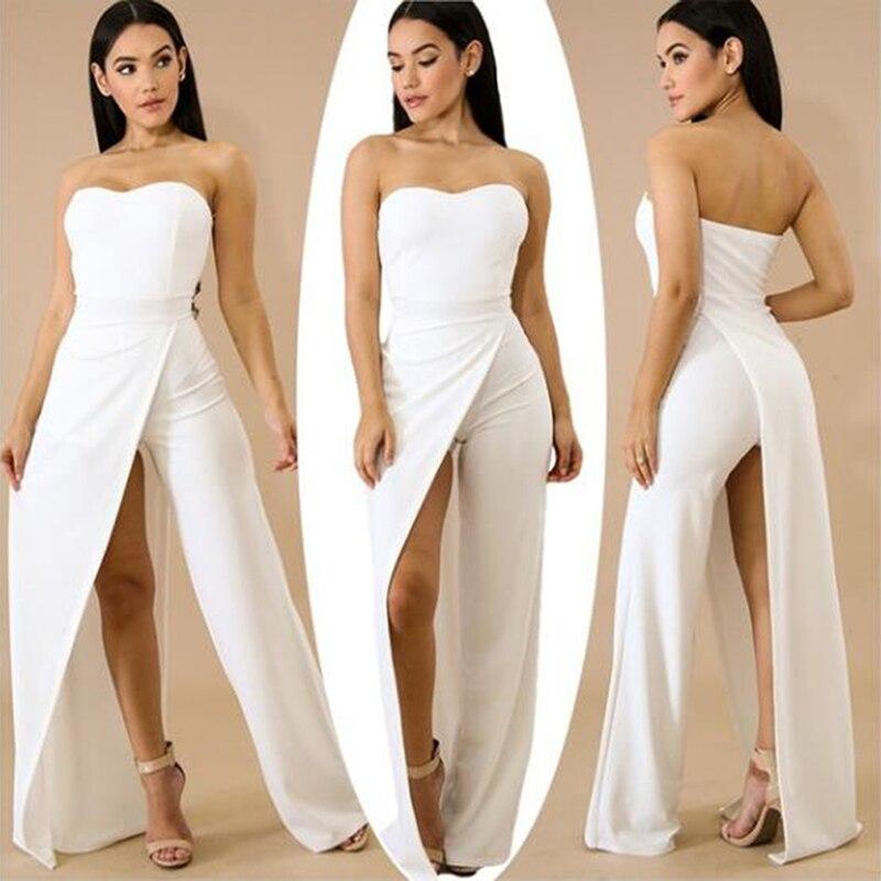 20ca4a235d5 Women Elegant Solid Split Jumpsuit New Sexy Women Sleeveless Jumpsuit  Fashion Sexy Tube Top Split Asymmetric